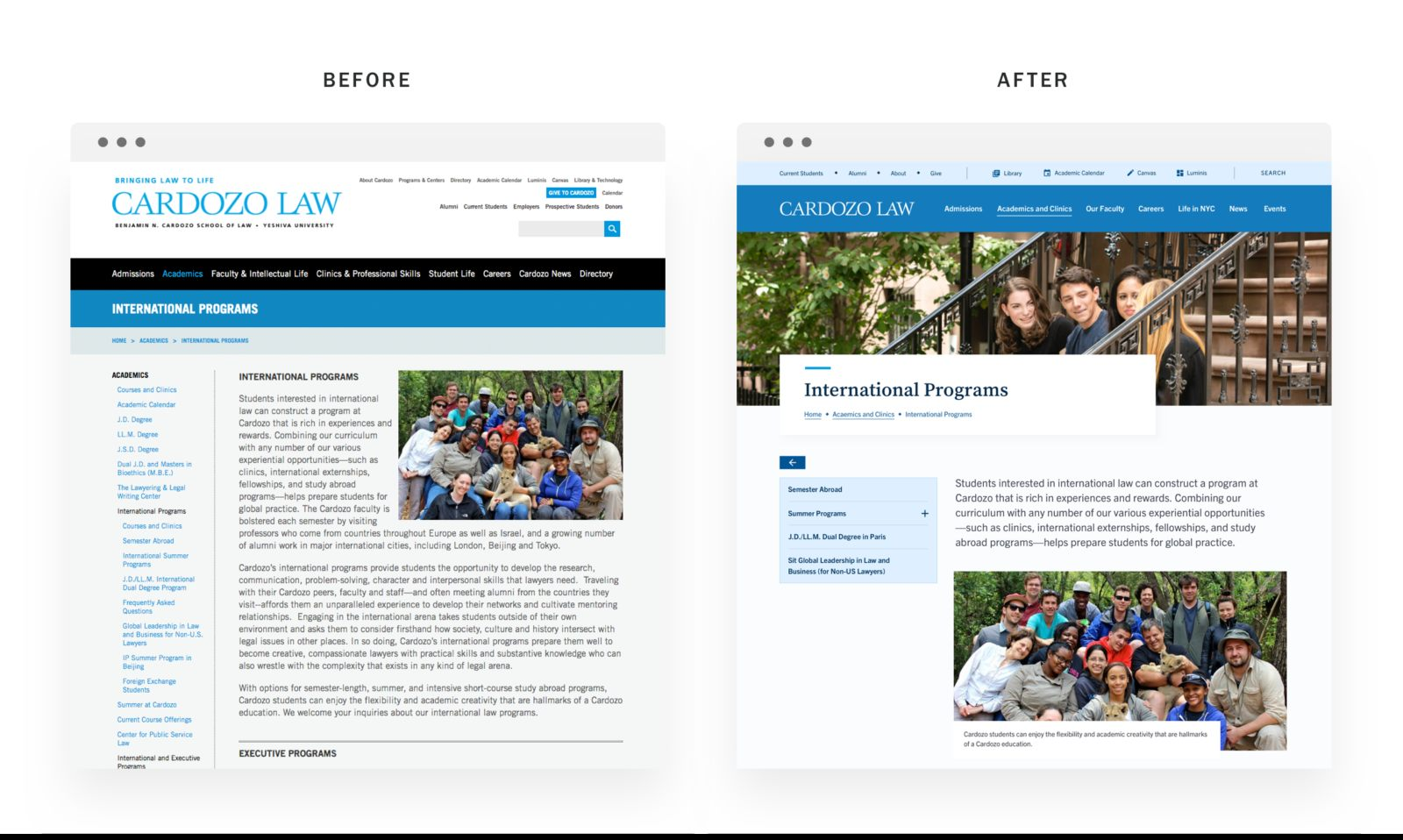 03 Cardozo Law Website Before After