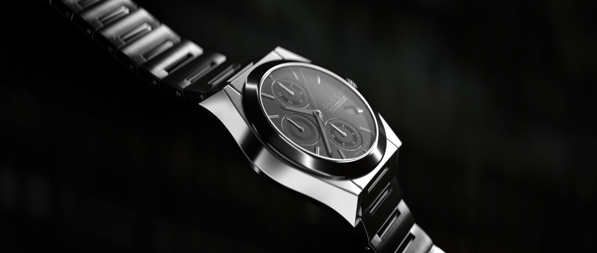 Gucci Watch Gunmetal Against Black