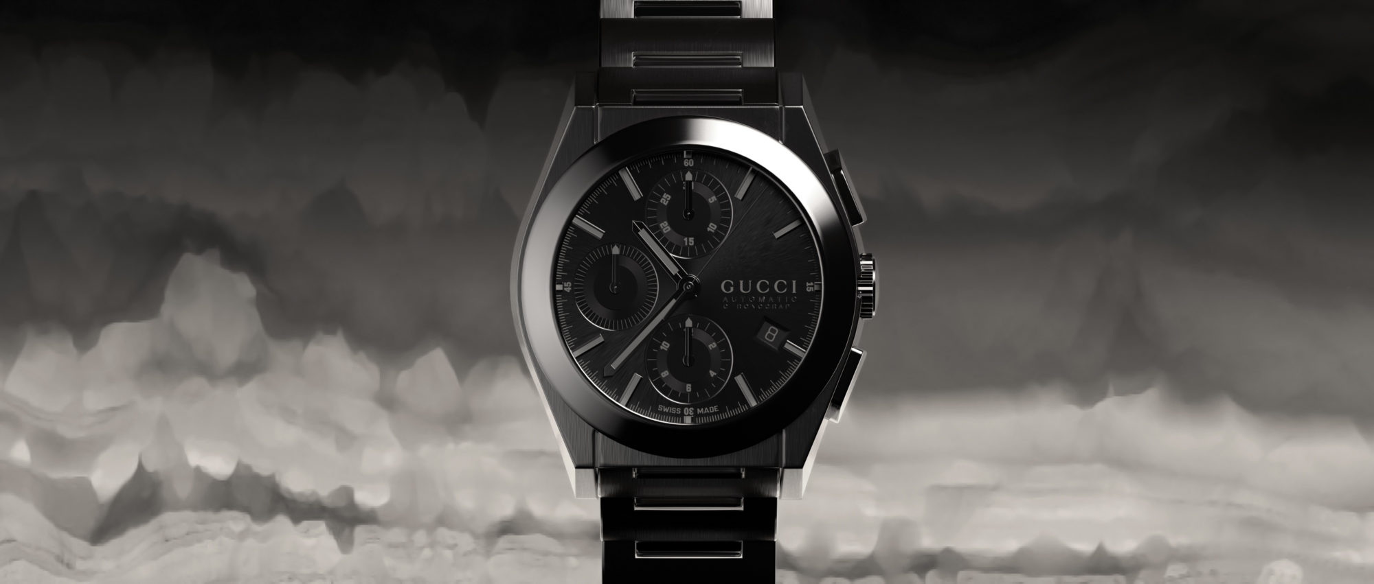 Gucci Watch Gunmetal Against Clouds