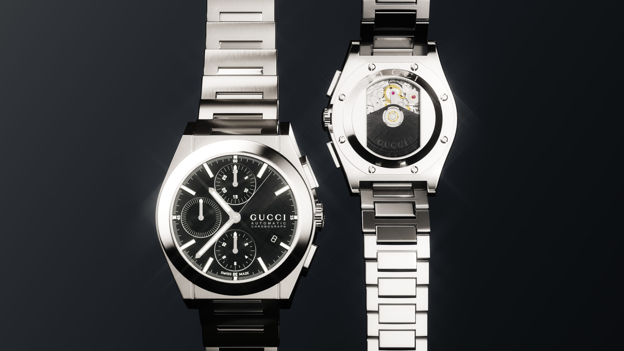 Gucci Watch Silver Black Front And Back