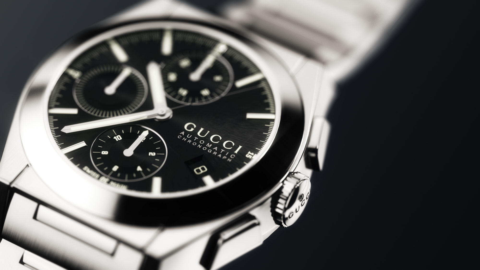 Gucci Watch Silver With Black Face