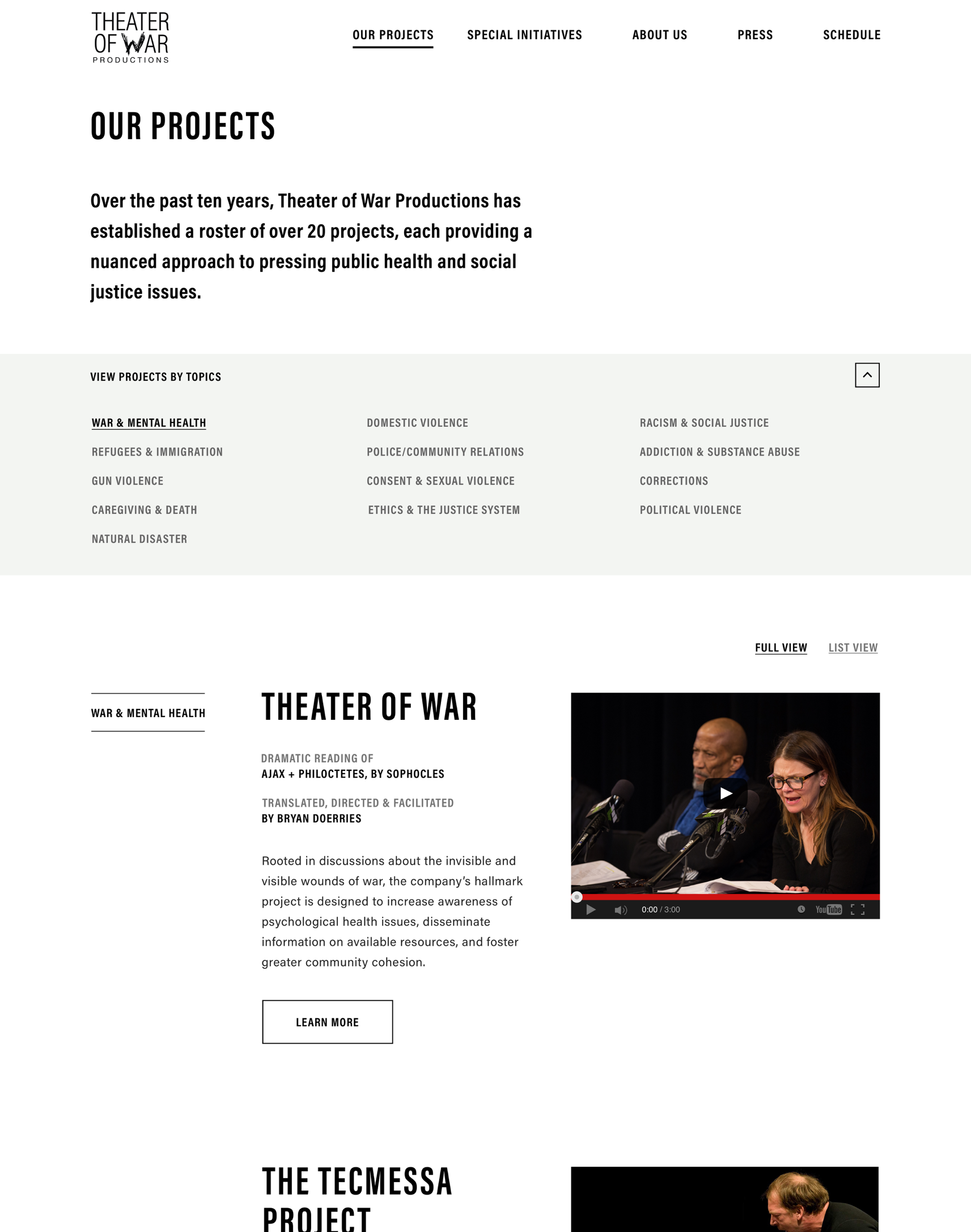 "Theater Of War Website Design showing the ""our projects"" page"