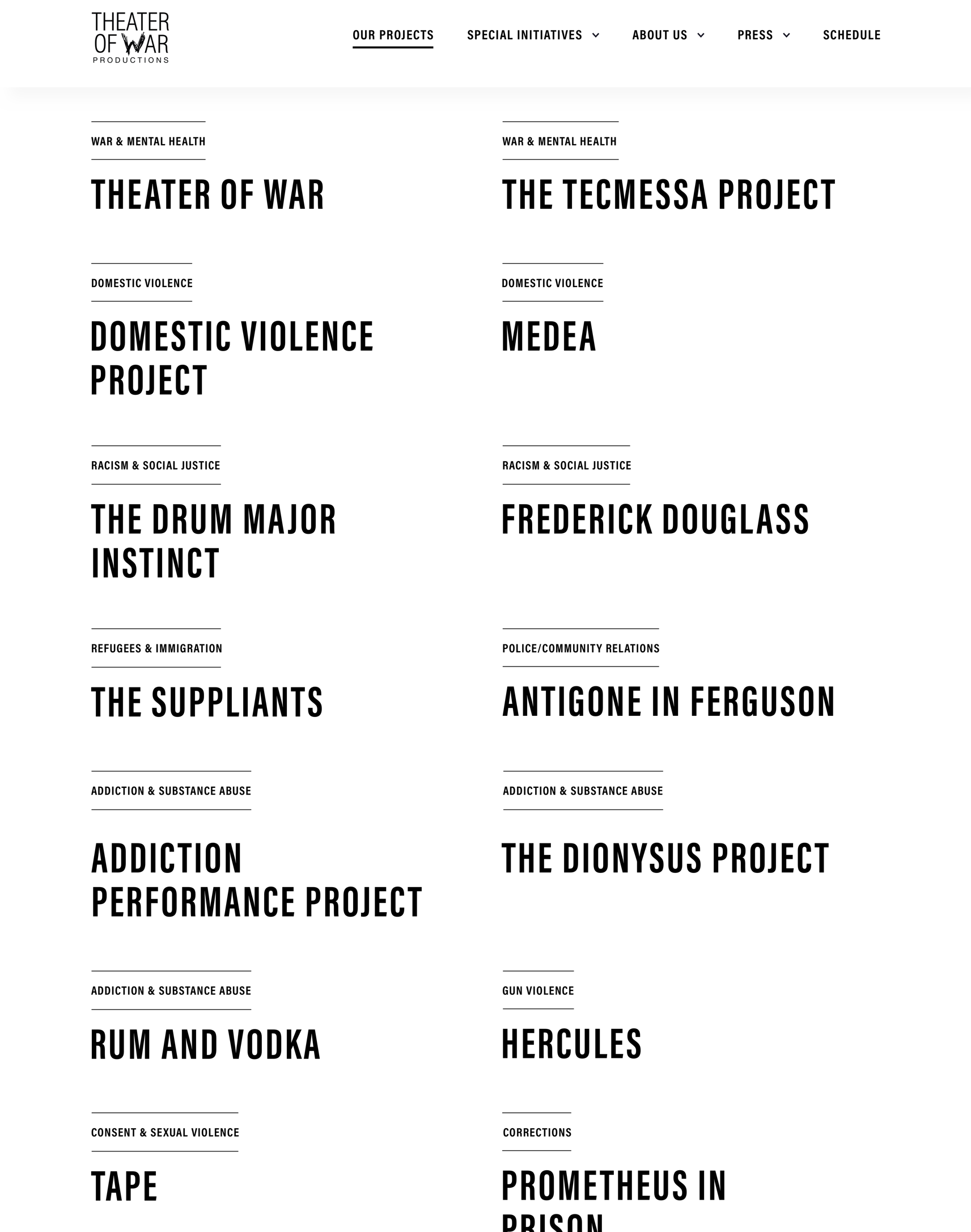 Theater of War Website Design showing text list of projects
