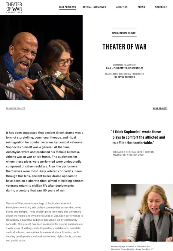 Theater of War Website Design showing an individual project page